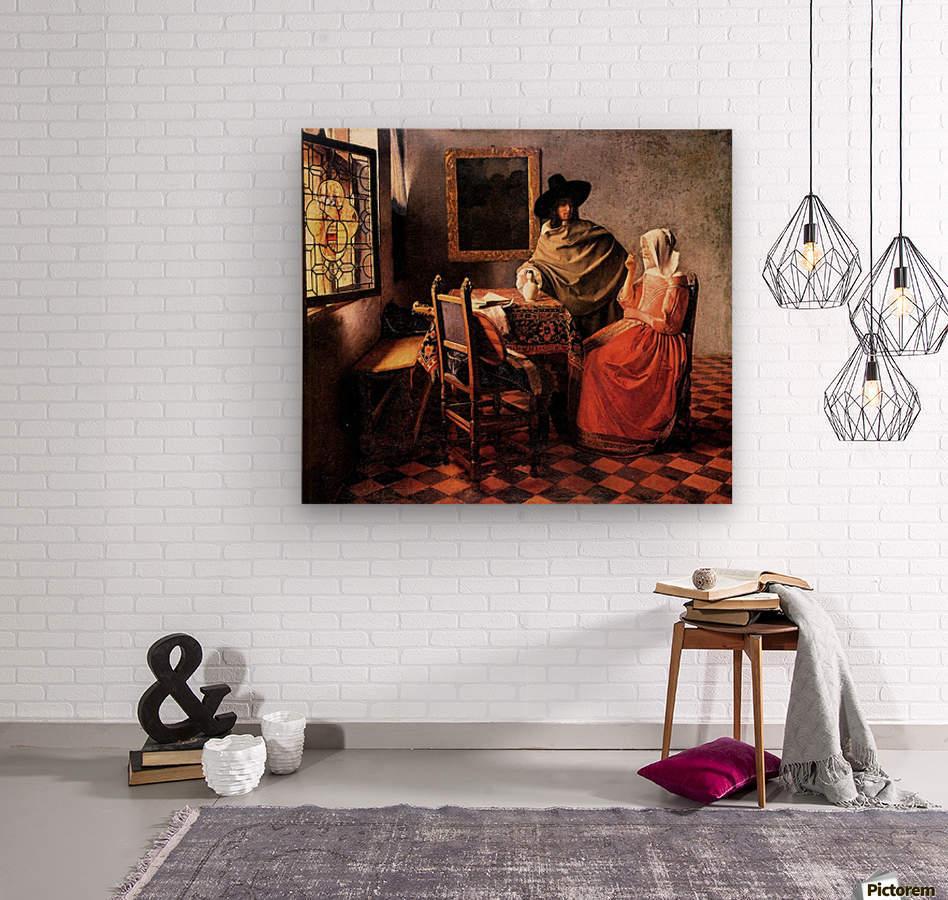Glass of wine by Vermeer  Wood print