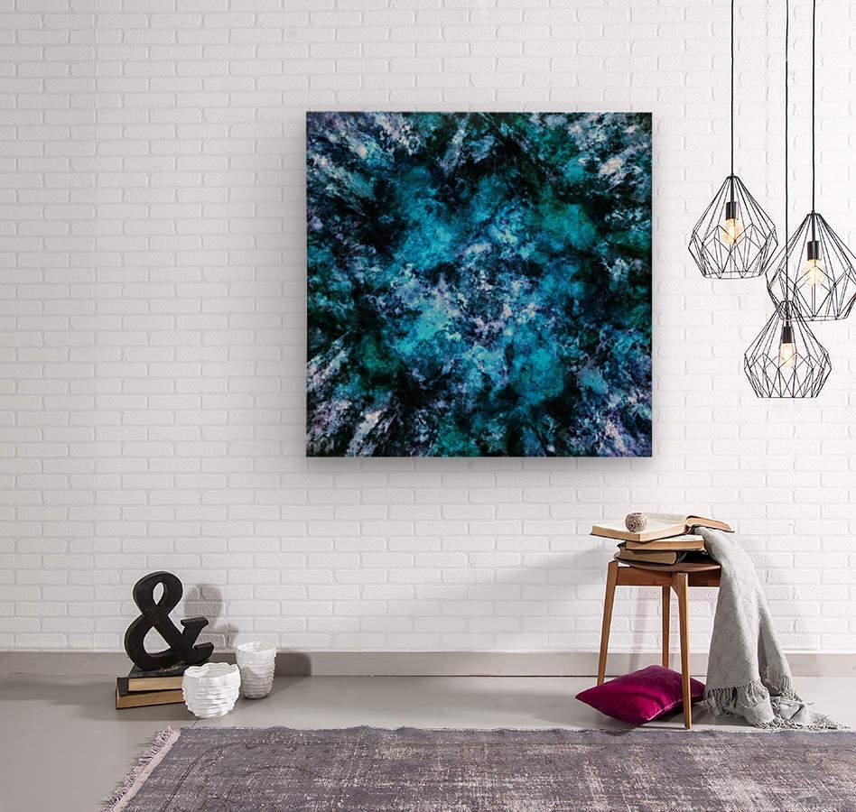 Blue burst  Impression sur bois