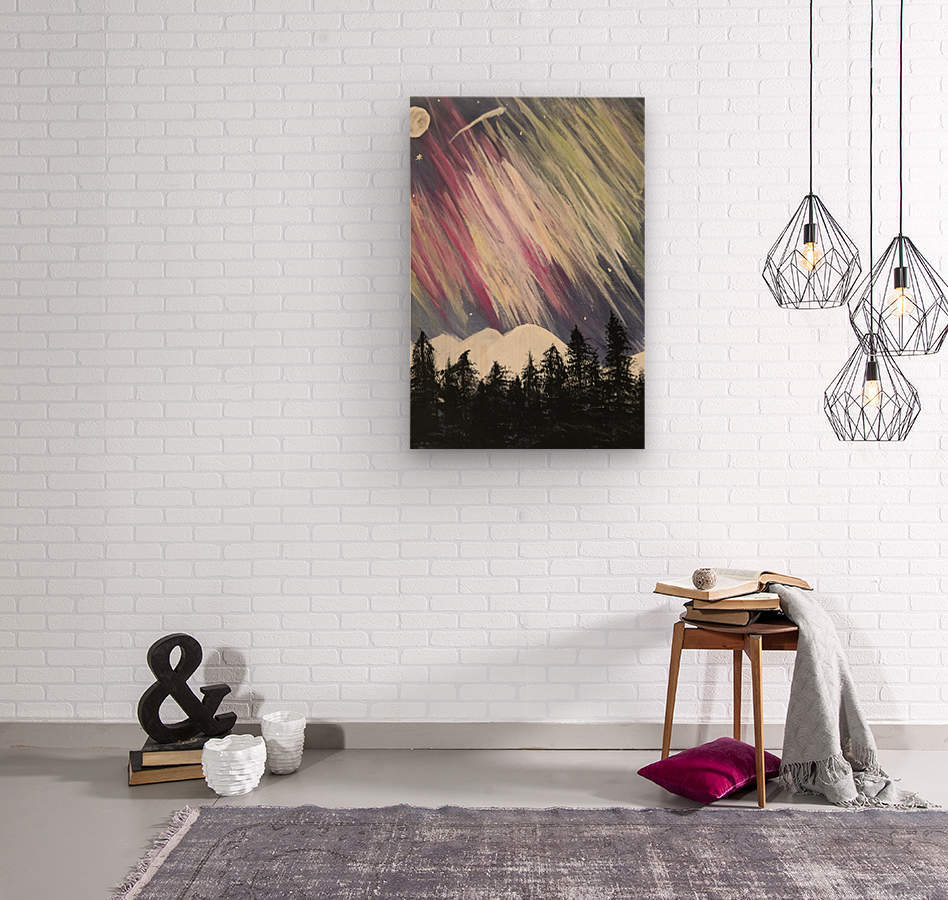 Aurora Borealis Above The Forest  Wood print