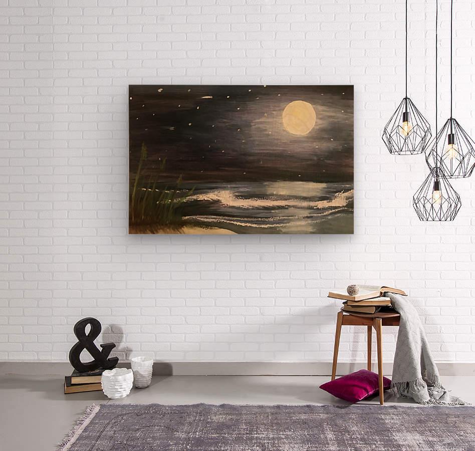 Moonlit Seascape  Wood print