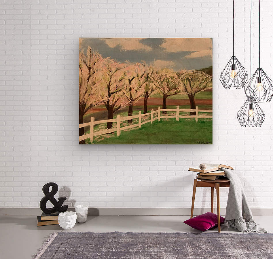 Trees In Bloom  Wood print
