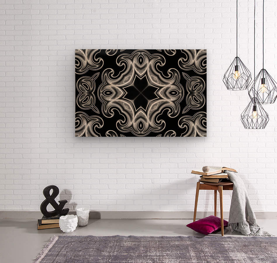 Classic Fractal in black and white  Wood print