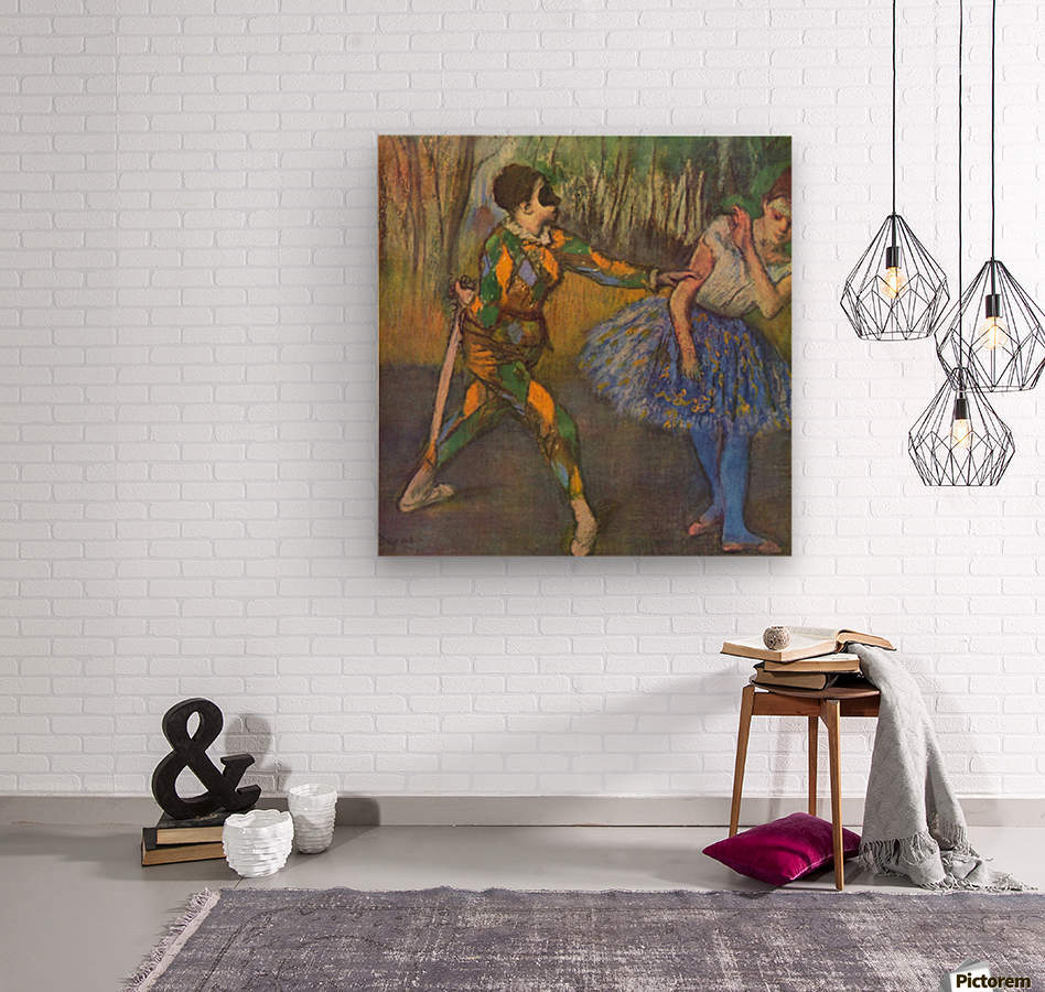 Harlequin and Colombine by Degas  Wood print