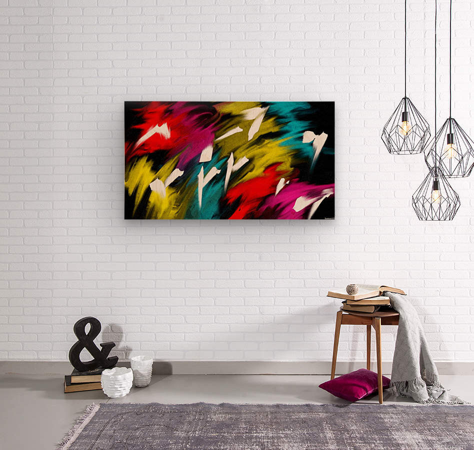 Neon Smoke  Wood print