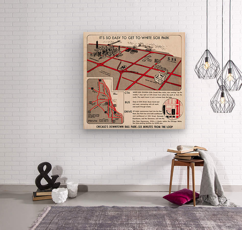 chicago map  Wood print