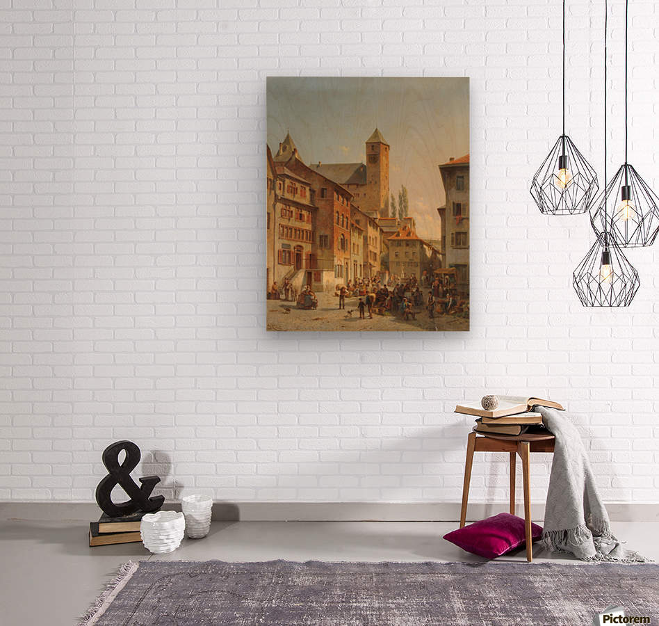 Belgian Continental Market  Wood print