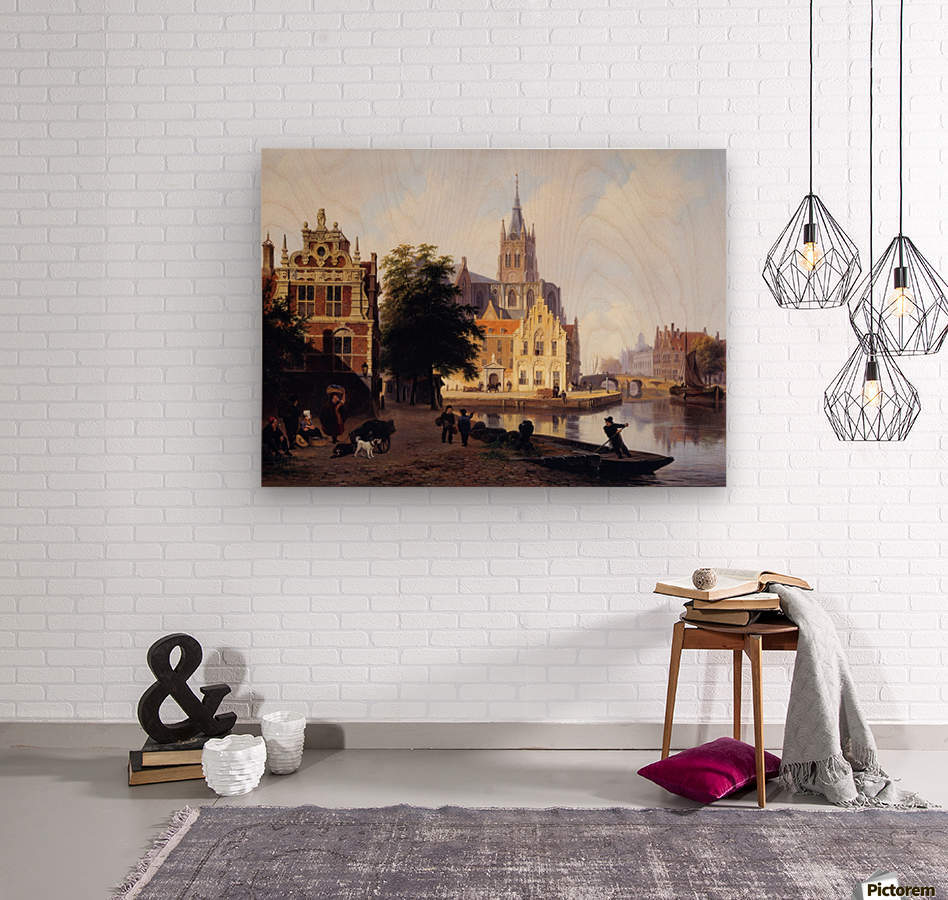 City view with canal Sun  Wood print