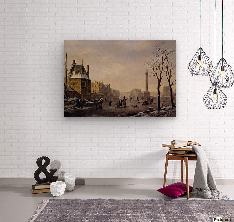 Pompenburg met Hofpoort in de winter  Wood print