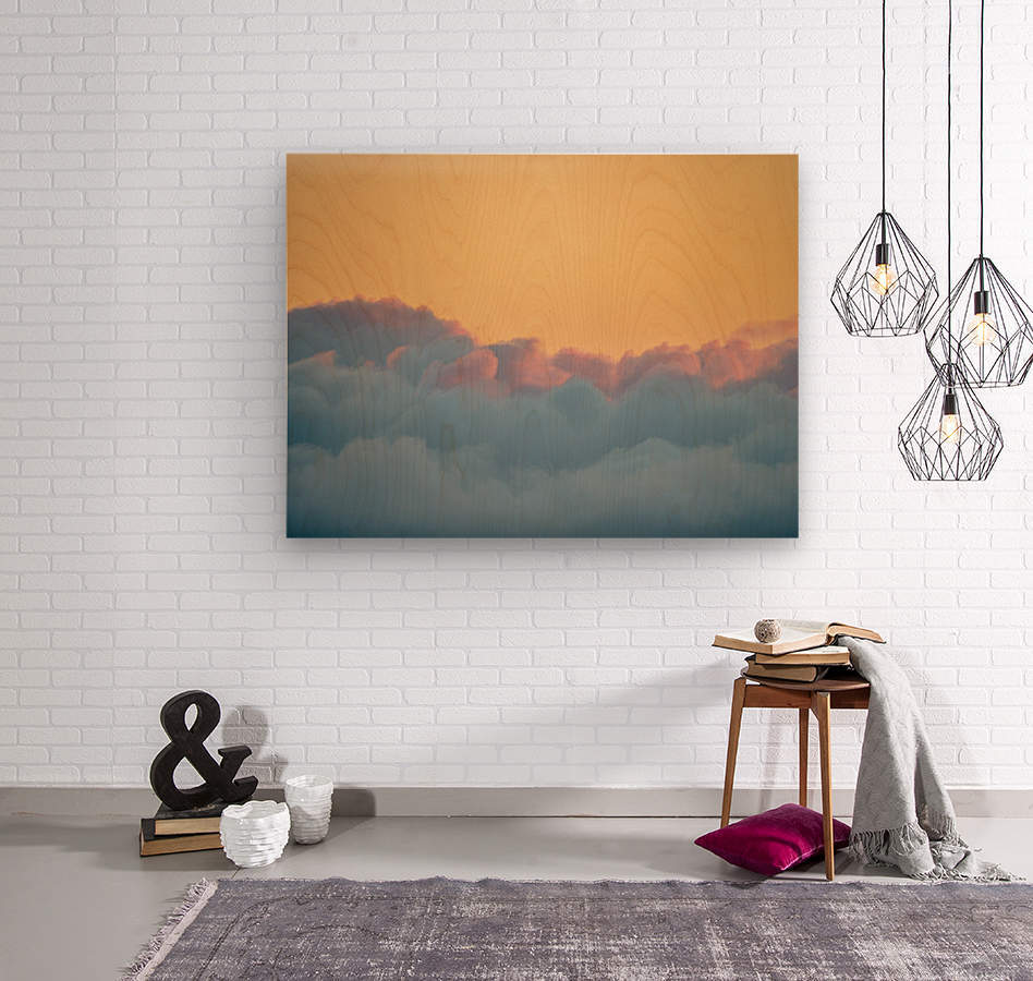Clouds at Sunset  Wood print