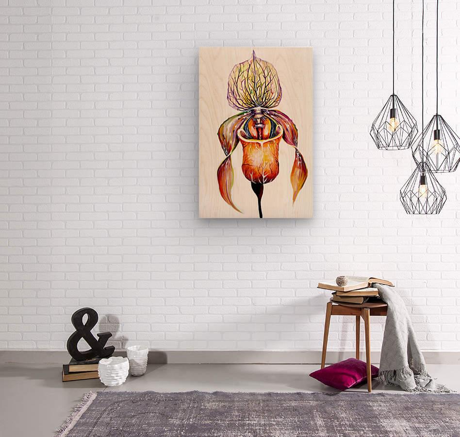 Orchid Venus Slipper  Wood print