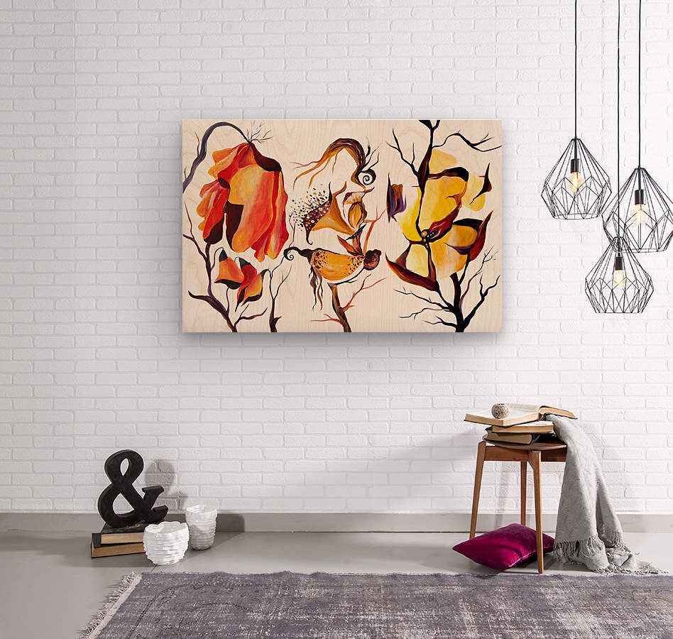 Exotic Tropical Flowers Illustration  Wood print
