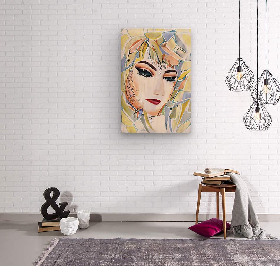 Chic Artistic Feminine Portrait  Wood print