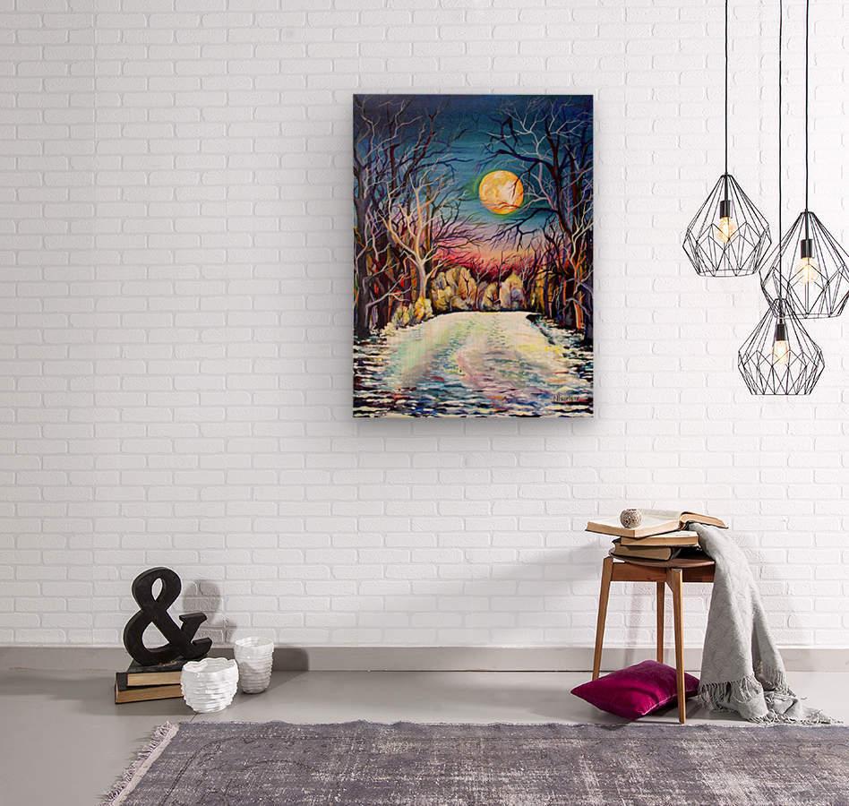 Winter Full Moon Night Landscape Watercolor  Wood print