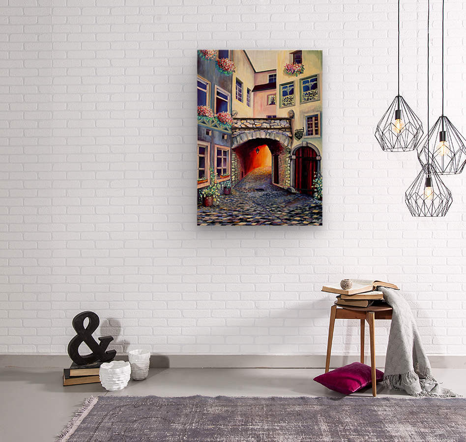 Brussels Cityscape Bohemian Painting  Wood print