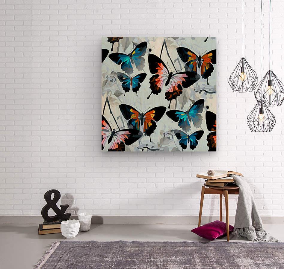 Seamless Butterflies Pattern   Wood print