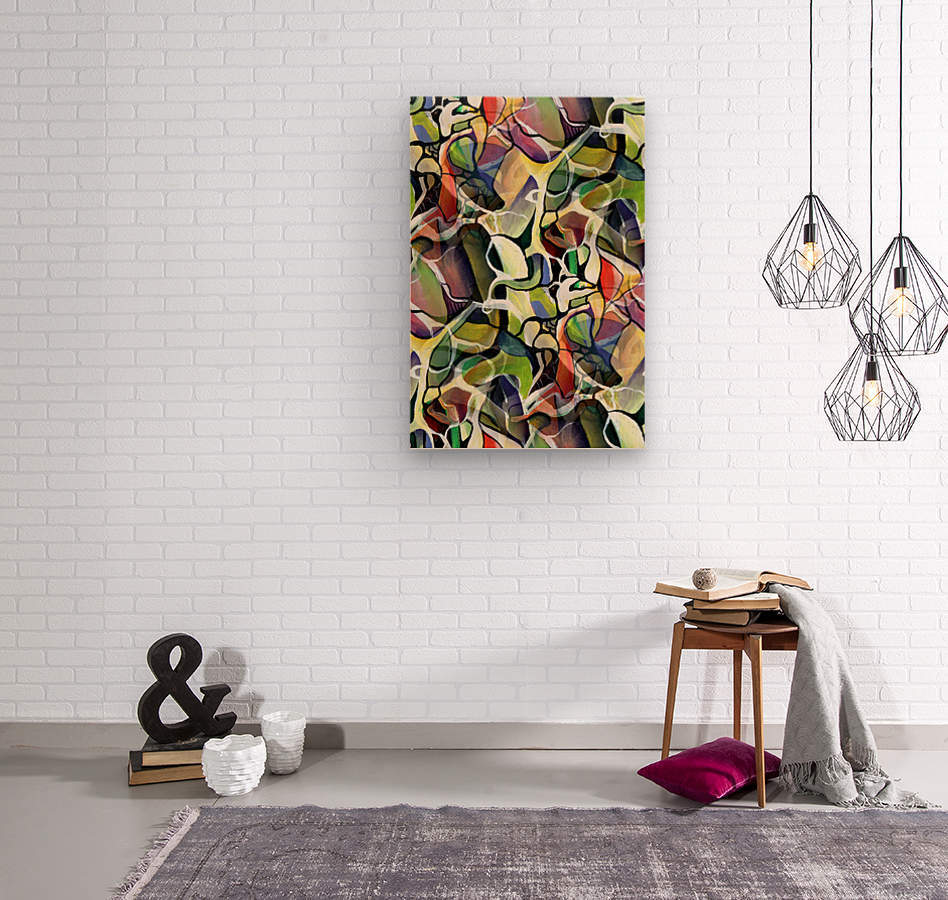 Linear Interlacing Expressionism Abstract  Wood print