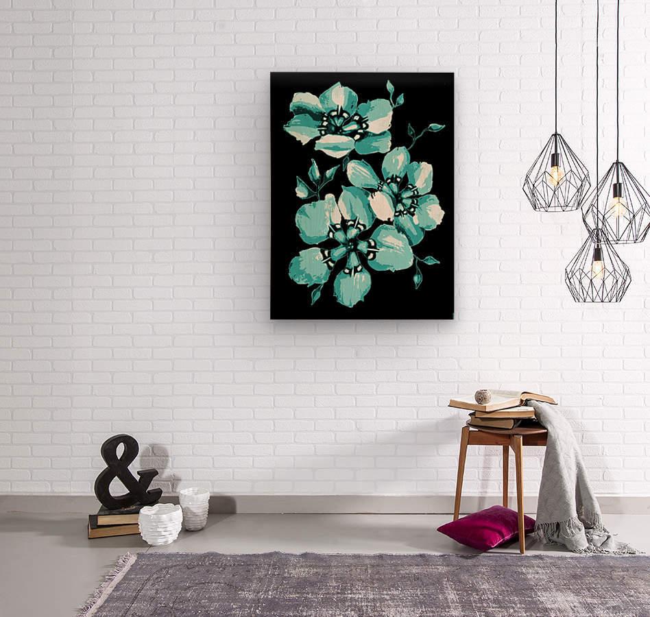 Harmonious Artdeco Floral Pattern   Wood print