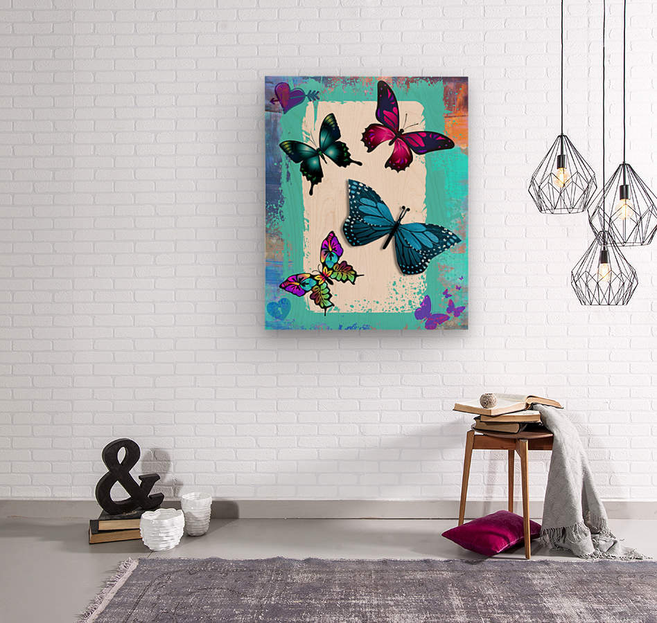 Whimsical Morpho Butterflies in Vivid Colors  Wood print