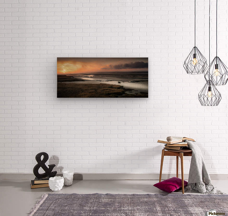 Penclawdd marsh sunset  Wood print