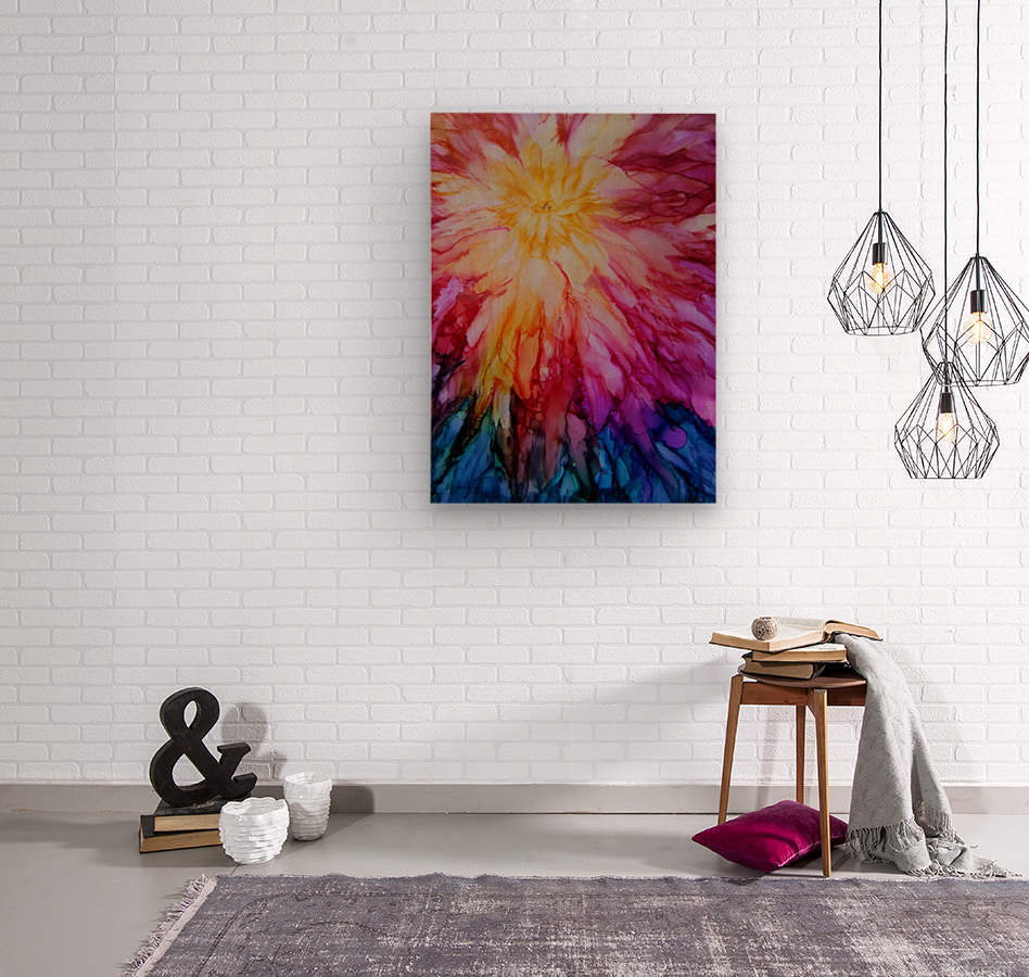 Rainbow Bloom  Wood print