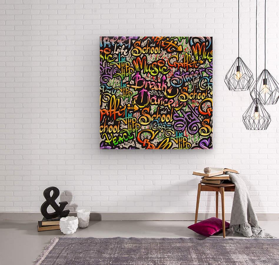 graffiti word seamless pattern  Wood print
