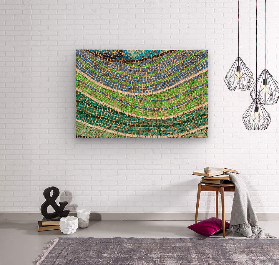 Tessellated Abstracts and Impressions - Free Form Meadows and Flowerbeds in Green and Blue  Wood print
