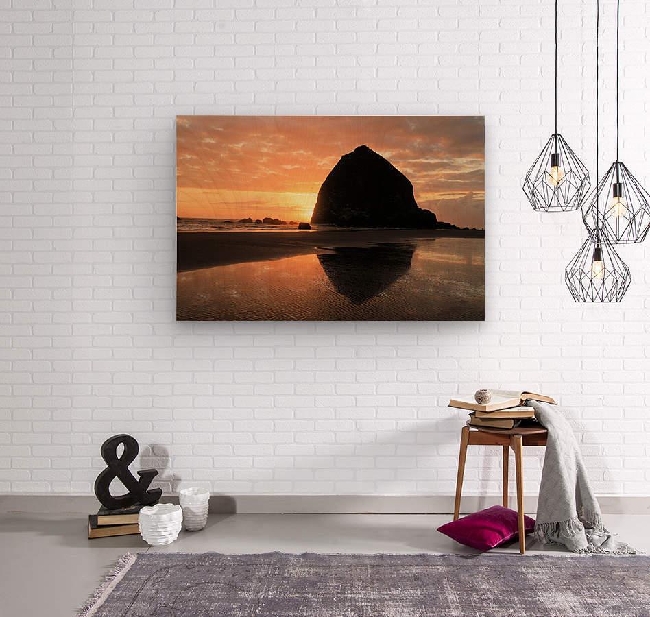 Haystack Rock at Sunset  Wood print