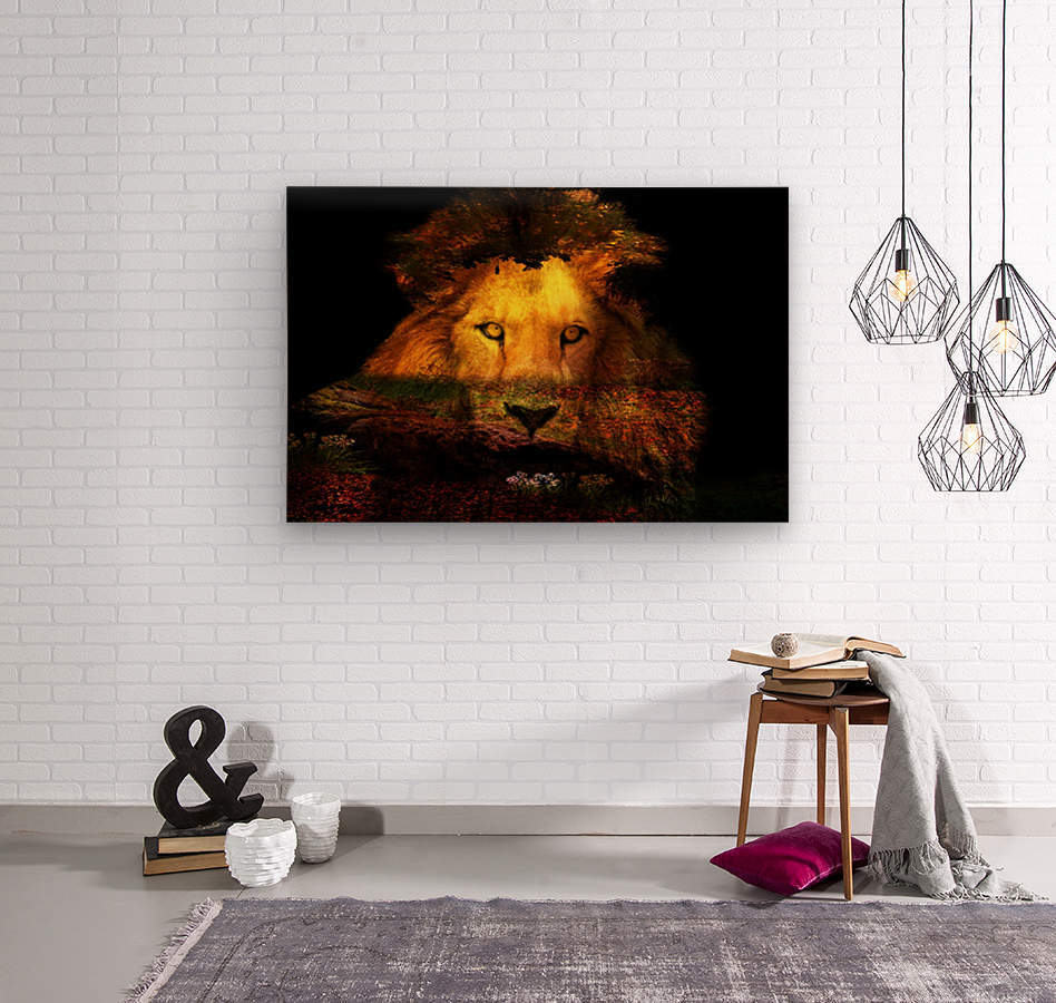 The Lion Watches  Wood print