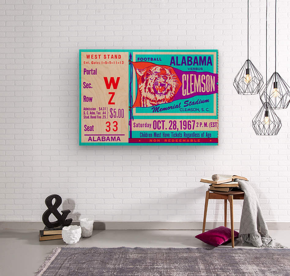 1967 Alabama vs. Clemson  Wood print