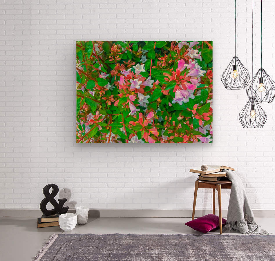 closeup blooming pink flowers with green leaves  Wood print