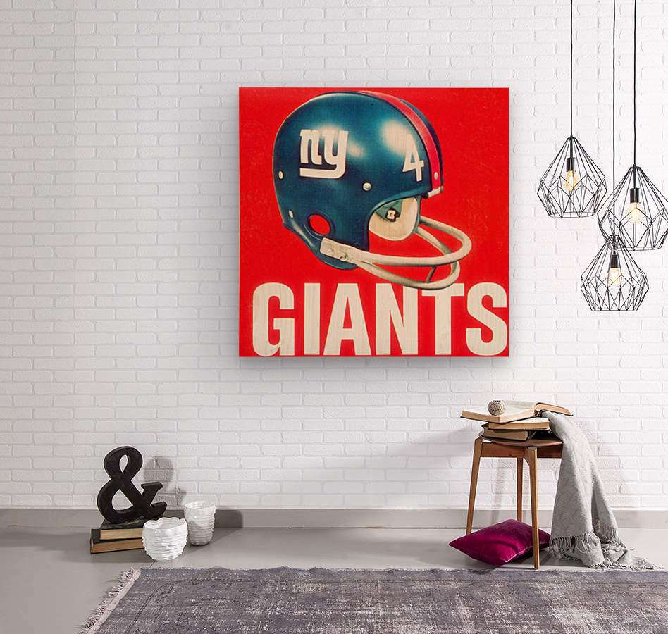 Vintage New York Giants Football Helmet Art  Wood print