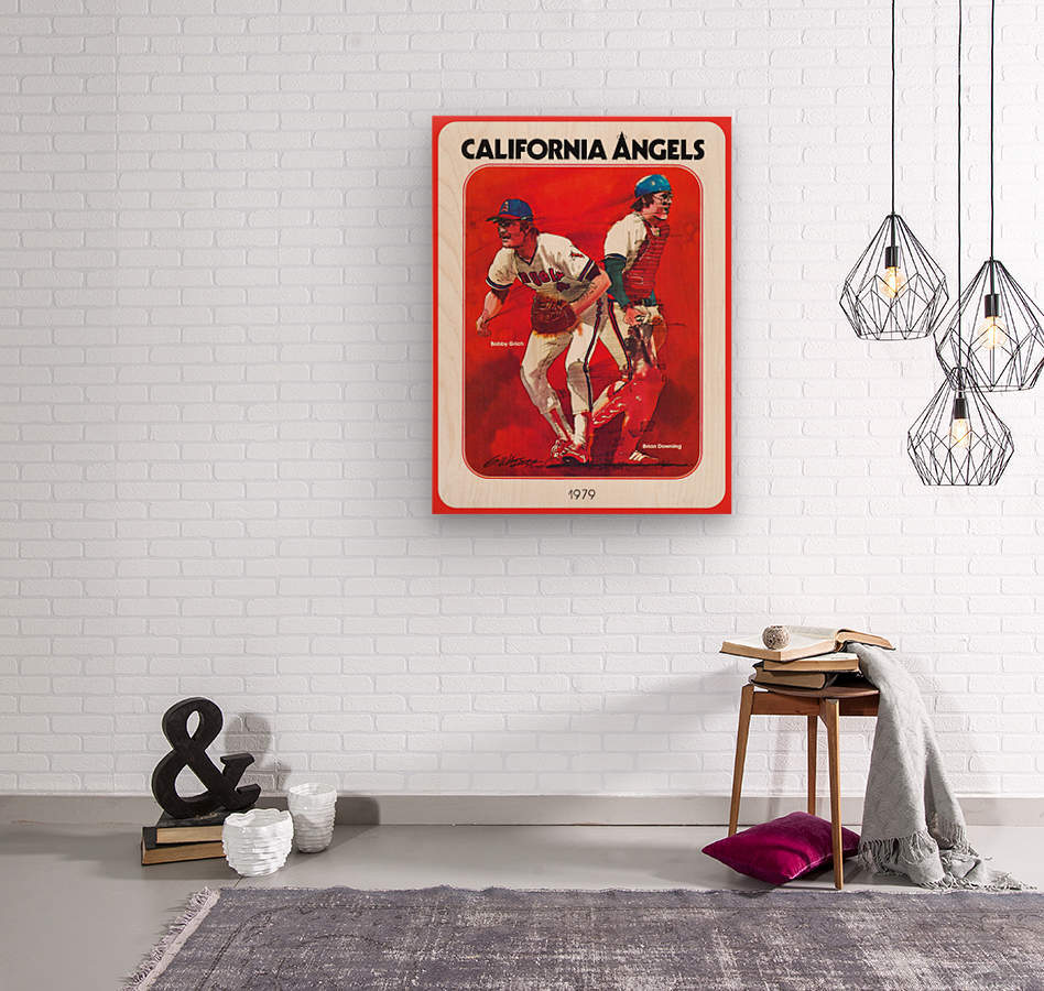 retro california angels poster baseball art row one (1)  Wood print