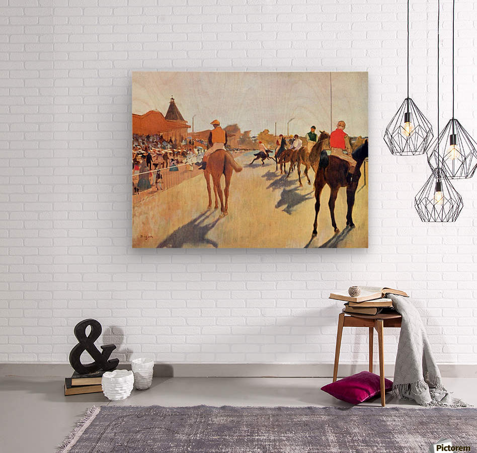Jockeys in front of the grandstand by Degas  Wood print