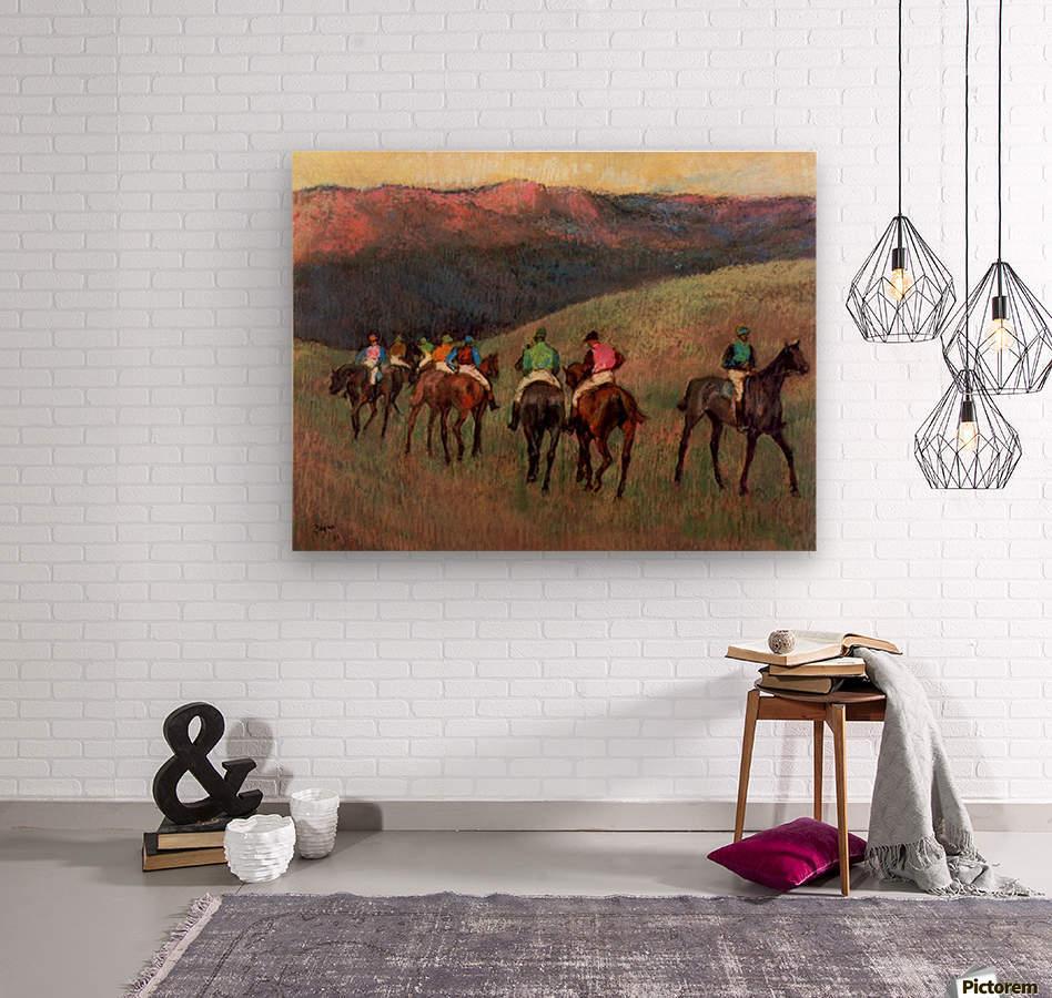 Jockeys in Training by Degas  Wood print