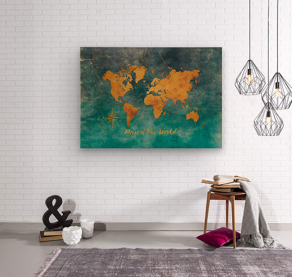 World Map 3  Wood print