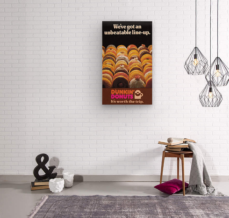 vintage dunkin donuts ad  Wood print
