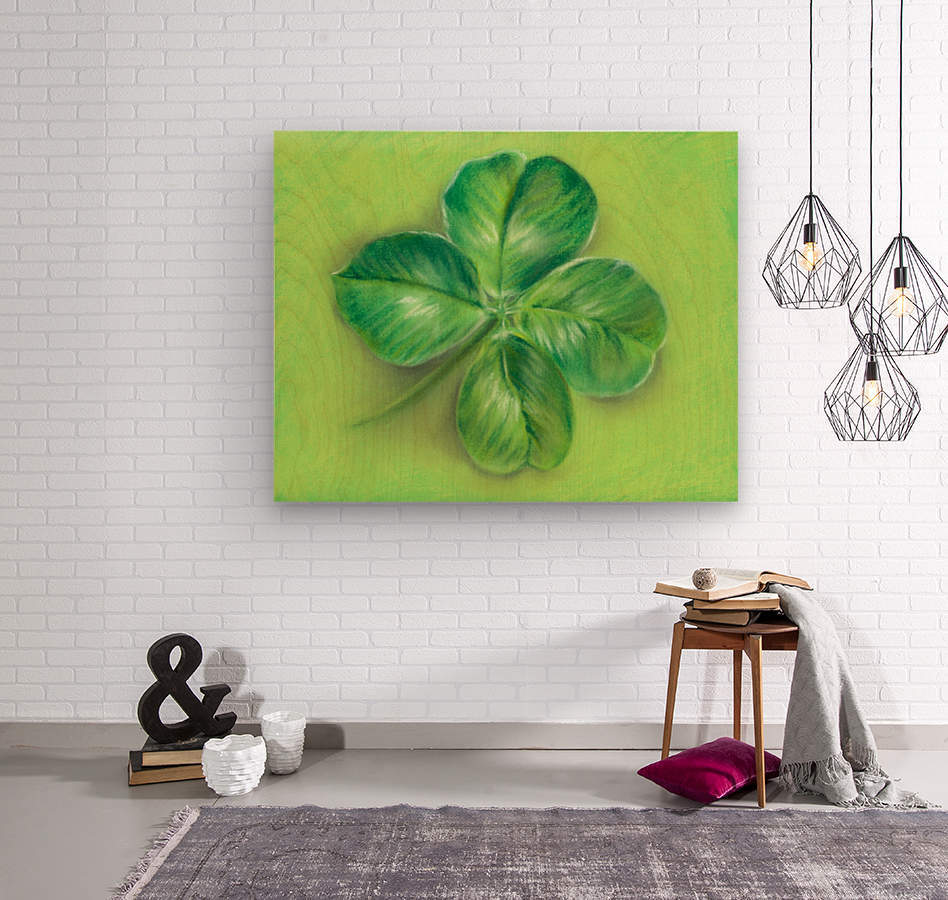 Lucky Four Leaf Clover  Wood print