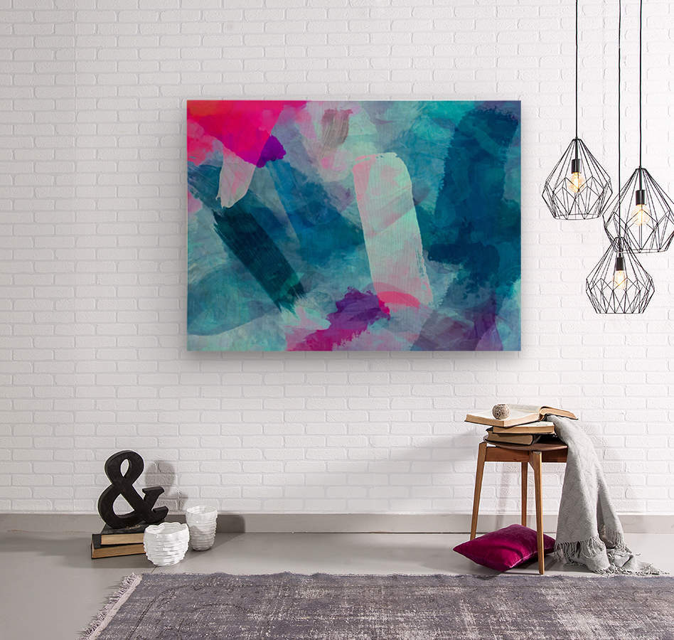 splash painting texture abstract background in blue pink  Wood print