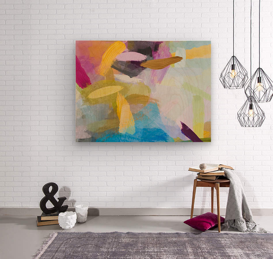 splash painting texture abstract background in yellow blue pink  Wood print