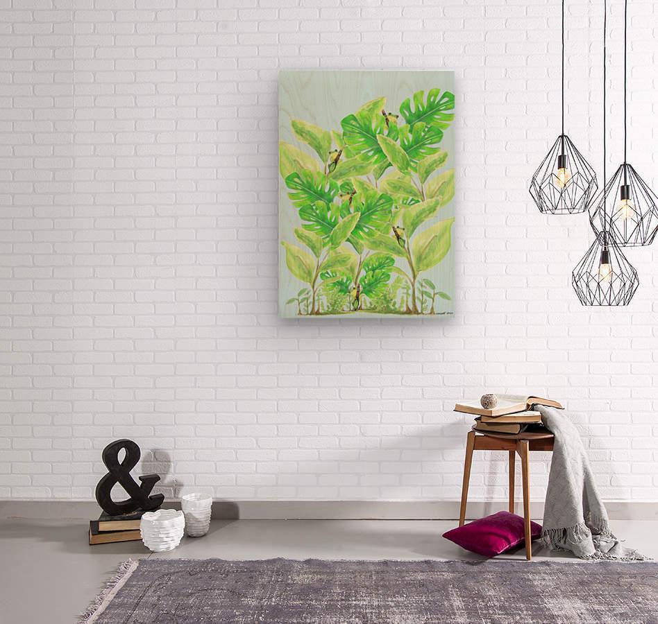 Frog Garden   Wood print
