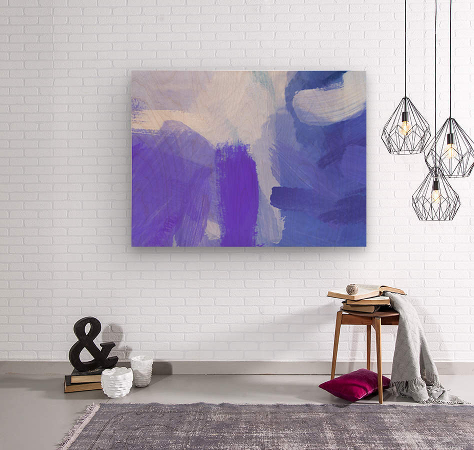 splash painting texture abstract background in blue and purple  Wood print
