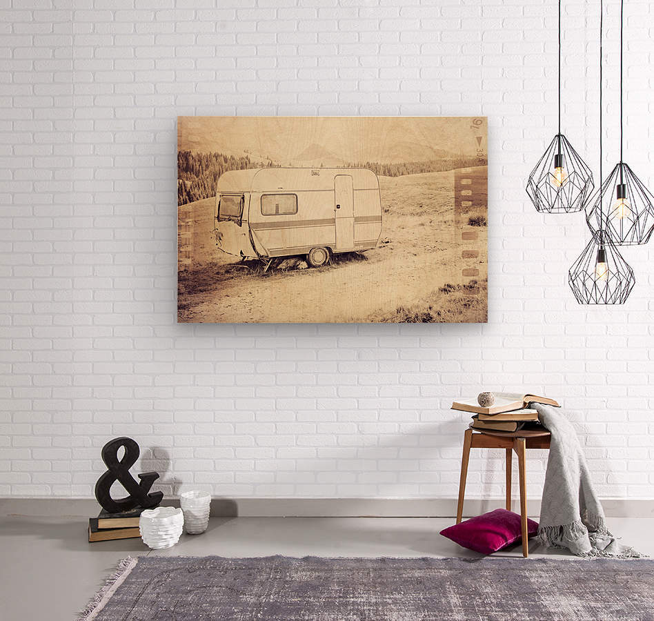 vintage travel trailer  Wood print