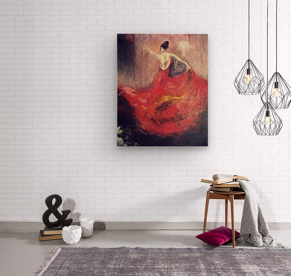 Dancer in Red   Wood print