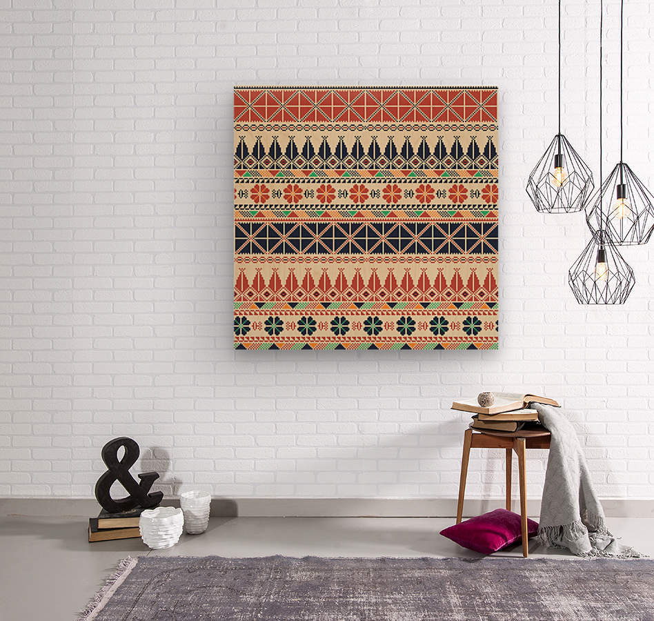 Palestinian embroidery pattern   Wood print