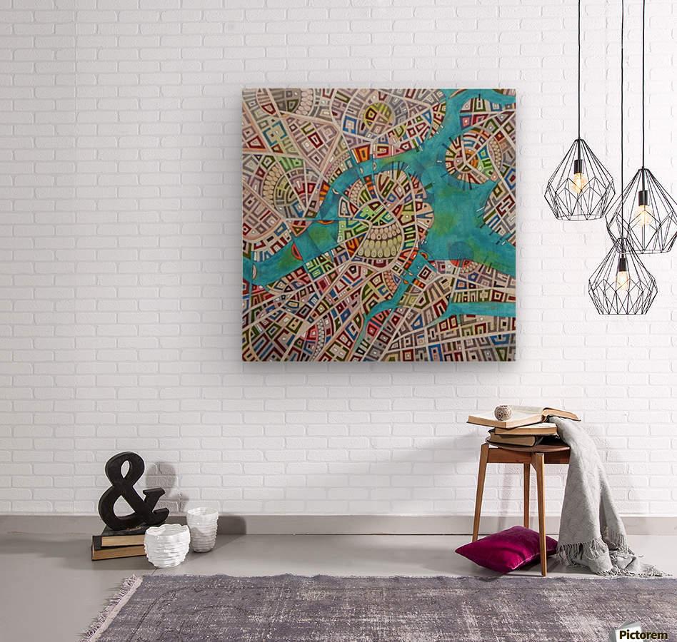 imaginary map of Boston  Wood print