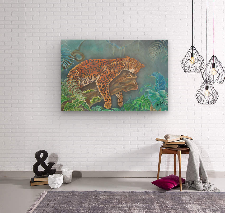 Gorgeous leopard resting in the jungle during the day  Wood print