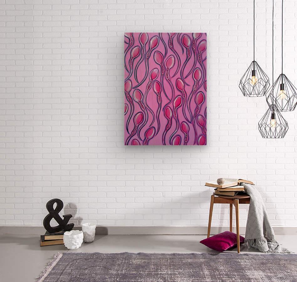 Sperms pink  Wood print