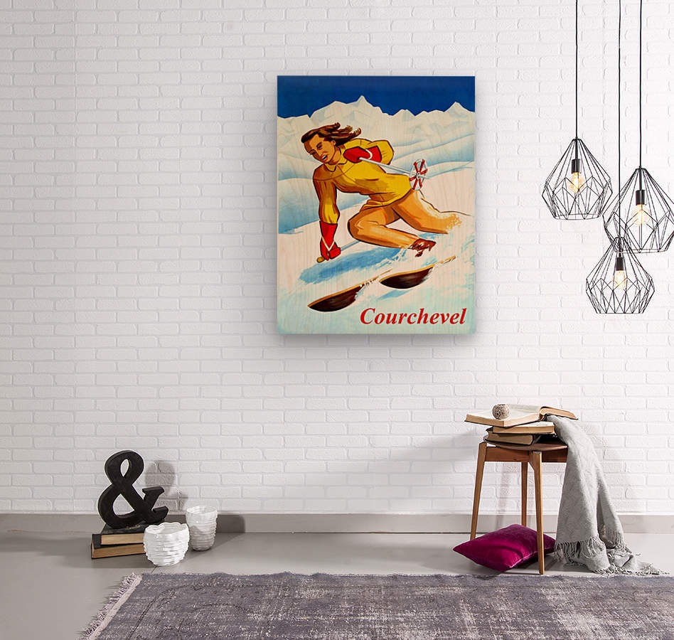 Skiing in Courchevel  Wood print