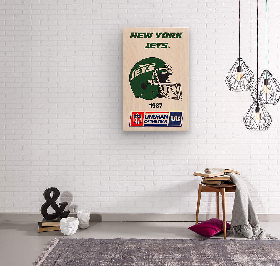 1987 New York Jets Helmet Art  Wood print