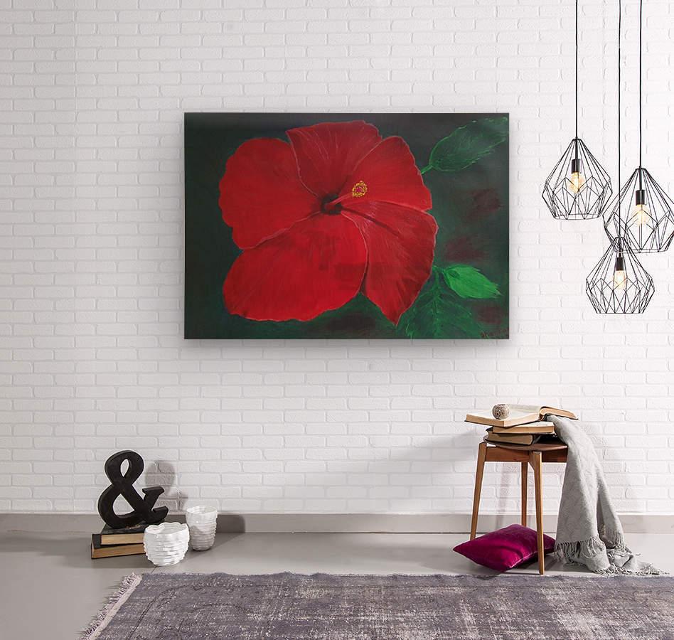 Hibiscus  Impression sur bois